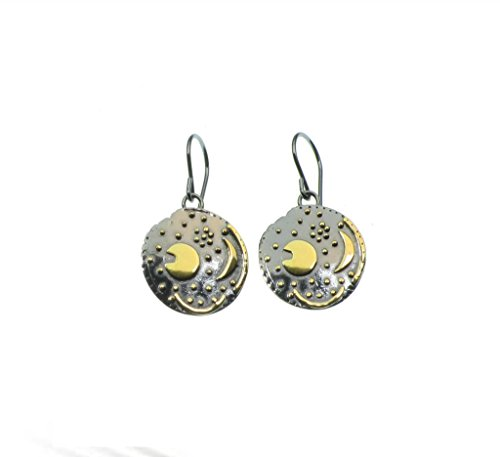 Himmelsscheibe von Nebra, Ø 18mm 1 Paar Ohrringe 925/- Silber, Sternenschmuck