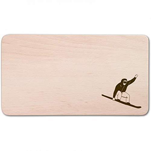 teemando mit individueller Gravur: Frühstücksbrett, rechteckig, mit Motiv Snowboard Fahrer aus Holz 22 cm