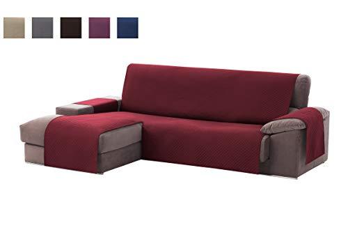 Textilhome - Copridivano Salvadivano Chaise Longe Adele - Color Rosso -BRACCIOLO Sinistra - Protezione per divani Imbottiti - Dimencione 200cm -(Visto di Fronte).
