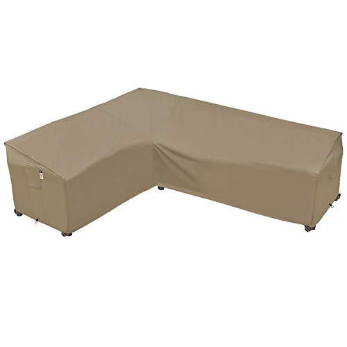 Heavy Duty Outdoor Sectional Couch Covers, 100% Waterproof 600D Patio Sectional Sofa Cover, L-Shaped Lawn Patio Furniture Cover, Left Facing