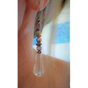 ✿ KRISTALL & MATTES GLAS IN LILA & SENF – KUPFER ✿ einmalige, romantische Ohrringe in kupfer