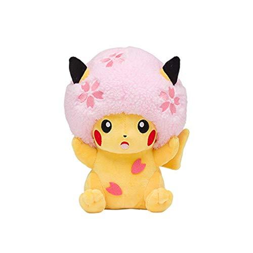 letaowl Juguete de Peluche 34cm Cherry Blossoms Pikachu Plush Toy Detective Pikachu Cute Anime Plush Toys Gift Toy Kids Cartoon Pikachu Plush Doll
