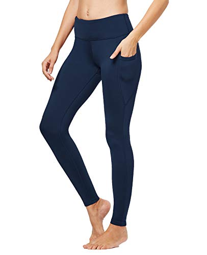 FitsT4 Women's High Waisted Fleece Lined Thermal Legging Tights Winter Yoga Pants with Pockets Dark Blue