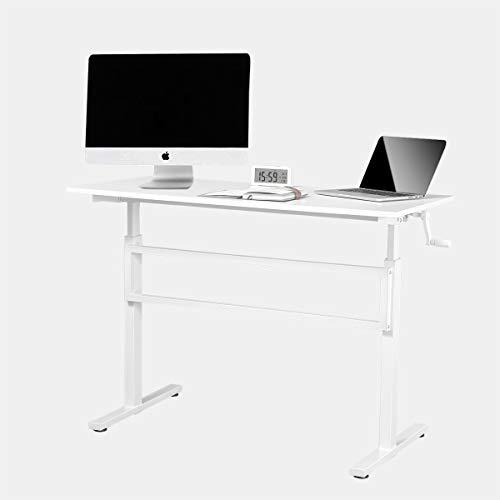 WENHAUS höhenverstellbarer Schreibtisch/Computertisch, manuell höhenverstellbares Tischgestell, passt für alle gängigen Tischplatten (Weiß)