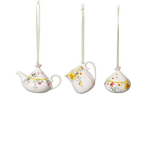 Villeroy & Boch Spring Awakening Ornamente, Kaffeeset 3tlg, Set aus Anhängern, dekorativer Kerzenhalter, Premium Porzellan, 6 x 5 cm, Kanne, 6x5