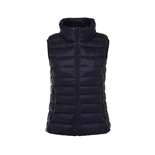 Damen Gepolsterte Weste Stehkragen Steppweste Wasserabweisend Steppweste Ärmellose Jacken für Mädchen Oberbekleidung Gr. 38, navy