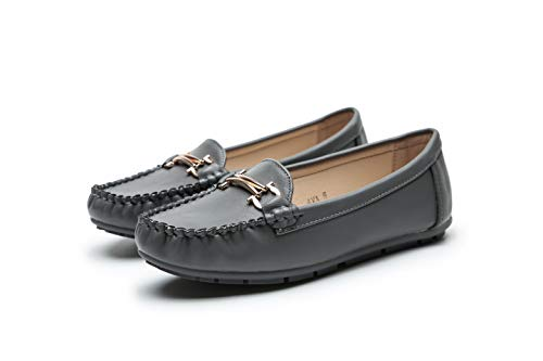 Comfortable Foldable Slip On Loafers Moccasins Driving & Walking Flats Cushioned Insole Shoes for Women, G-AVA10 Grey Size 6.5