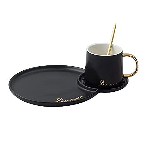 XYJ Taza de café Cerámica Taza de Desayuno Snack Placa de agitación Spoon Home Office Cafetera Cafetera Mesa de Centro Latte Cappuccino Espresso Taza de Jugo Taza Taza de té 260ml (Negro: Blanco)