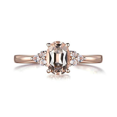Daesar Damen Ringe 18K Rotgold 0.75ct Oval Morganit Verlobung Rosegold Ringe mit Diamant Echt Große 45 (14.3)