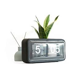 Rejea Auto Flip Clock, Wall Hang/Desktop Clock, Anti-Dust Cover, 10.5 x 6 x 3.2 inches, Decorative Flipping Down Clock for Office, Home, Bar, Desk & Shelf (Matte Black, Rubber Painted)
