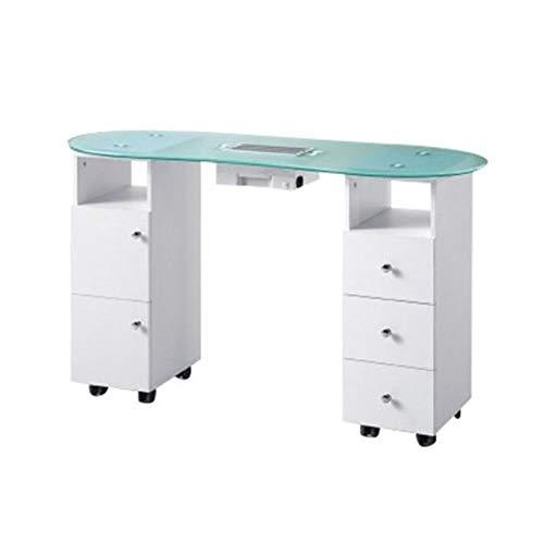 Mesa de Manicura Profesional con Aspiradora y Base de Cristal con 5 Cajones de Cómodo Acceso para Utensilios