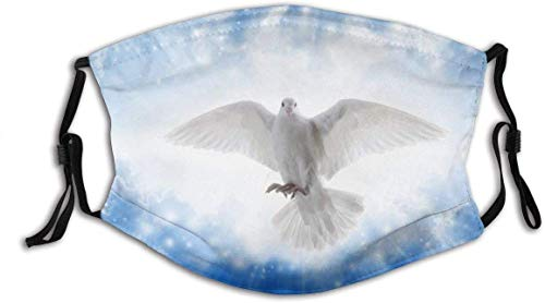 'N/A' LLMMM Blue Spirit Miracle Bird Day Flies Skies Peaceful Purity Beam Love Sun Pigeon Nature Peace White Awe Windproof Anti Pollution Face Shields Scarf Washable and Reusable Headbands Headwear