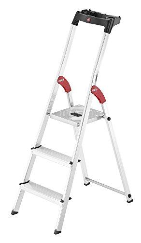 Hailo L60 StandardLine, Alu-Sicherheits-Stehleiter, 3 Stufen, Ablageschale, belastbar bis 150 kg, silber, Made in Germany, 8160-307