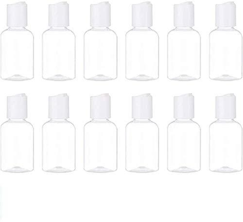 DaoRier Flacon Vide de Voyage 12 Pièces 50 ML Plastique Rechargeable De Lotion avec Bouchon De Pression pour cosmétiques,Lotion,shampoing,Gel Douche,crème
