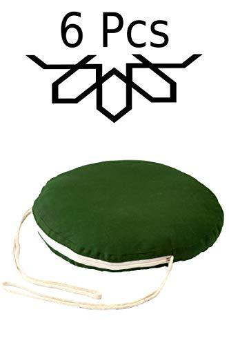 6 er Set Sitzkissen Stuhlkissen mit Schleife 45cm Groß Rund Dunkelgrün   Outdoor im Garten als Stuhlauflage oder Indoor als Stuhl Kissen im Wohnzimmer oder Küche   Rundes Bodenkissen aus Baumwolle