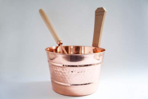 Copper Handmade Sauna Bucket with Ladle, Dipper Set (4 Liters), Sauna Accessories