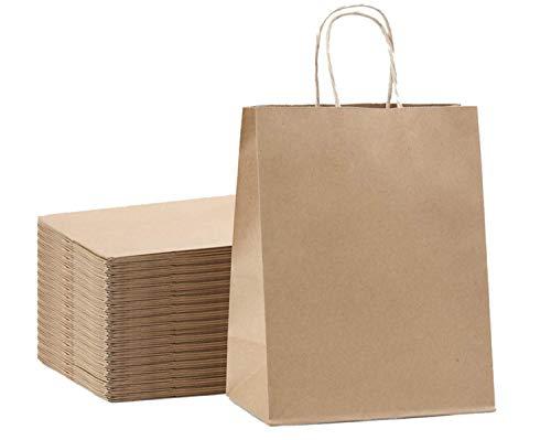 N\C QRYY Bolsas de Regalo de Papel Kraft marrón a Granel con Asas 8x4.25x10.5 [50Pcs]. Ideal para Bolsas de Regalo, Bolsas de Fiesta, Bolsas de Compras, Bolsas de Papel Kraft, Bolsas de Venta al por