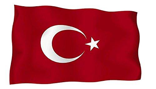 Sticker, zelfklevend, motief: Turkse vlag, voor motorfiets, auto, vinyl, 10 stuks