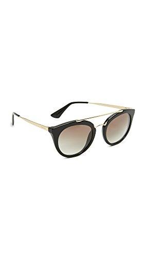 Prada Women's Round Aviator Sunglasses, Black/Grey, One Size
