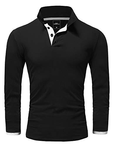 Amaci&Sons Herren Poloshirt Basic Kontrast Langarm Polohemd Shirt 5201 Schwarz/Weiß L