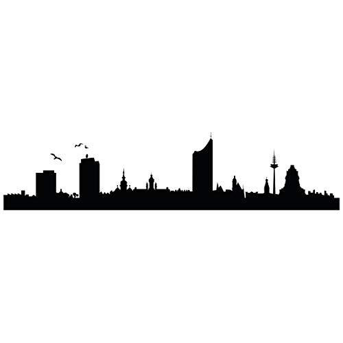 Wandtattoo Skyline Leipzig - Größe: S - 80cm x 19cm - 23 mögliche Farben