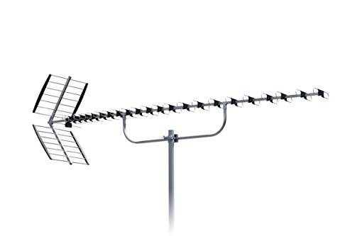 LowcostMobile RAD92-DVB-ULTRAMAX 18,5dBi conector F Filtro pasivo 4G LTE 5G NR 700, 800 Mhz Antena TV TDT exterior potente DVB-T DVB-T2 92 elementos Frecuencias 470 694 MHz Canales 21 a 48