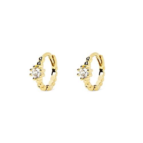 SINGULARU  - Pendientes Aro Pebbles Spark Oro - Joyas mujer