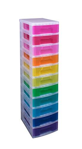 Really Useful Box 11Liter Tower Schublade–durchsichtig/Regenbogenfarben (7Stück)