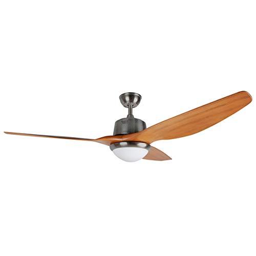 Orbegozo CP 96160 - Ventilador de techo, luz LED, mando a distancia, 3 velocidades, aspas de madera natural, temporizador, 85 W