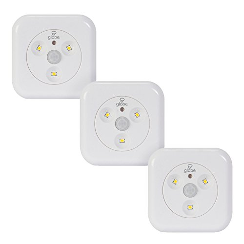 Globe Electric 26046 LED Under Cabinet Motion Activated Slim Puck Light, 3-Pack, 18 Batteries Included, 3000K Soft White