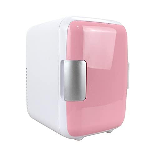 Nevera Pequeña, Mini Refrigerador Para Automóvil De 4 Litros, Adecuado Para El Cuidado De La Piel, Alimentos, Leche Materna Y Bebidas, Cosméticos, Uso Dual Frío / Caliente,12V Para Automóvil,Rosado