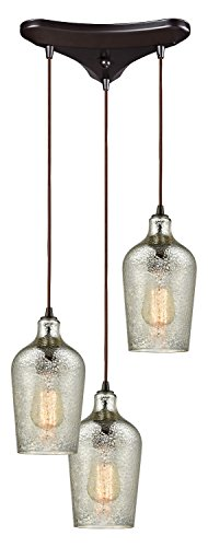 Hammered Glass 3 Light Triangle Pan Fixture in Oil Rubbed Bronze with Hammered Mercury Glass