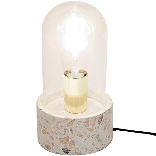 Neoly 38-2L-012 Lampe Globe Transparent Terrazzo Pierre et Verre D12 x H20 cm