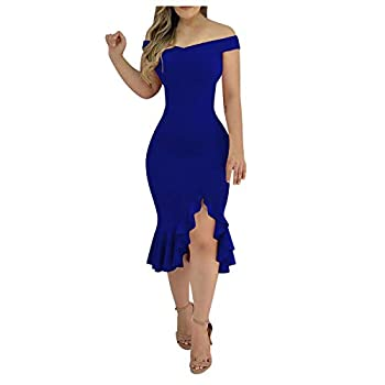 Shakumy Women Dresses Embroidery Mesh Ruffle Hem Slit Dress Short Sleeve Cocktail Dress Club Elegant Party Dress Sundress