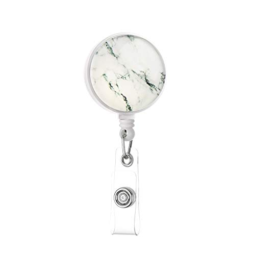 shihao159 1PC Kantoorbenodigdheden Clip ID Naam Kaart Anti-Verloren Clip Sleutelring Sterrenroos Marmeren Badge Houder Intrekbare 360 Graden Rotatie Kleur: wit