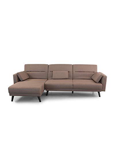 Home Heavenly® - Sofá Chaiselongue Clic clac Arezzo, 3 plazas Convertible en Cama y Reversible Patas en Madera tapizado en Marron (Arezzo - Marron)