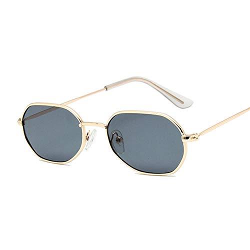 IRCATH Moda Polígono Oval Gafas de Sol Mujer Vintage Negro Pequeño Marco Damas Gafas de Sol Metal Colorful Ocean Mirror Adecuado para Conducir Playa Trekking-Gris Dorado