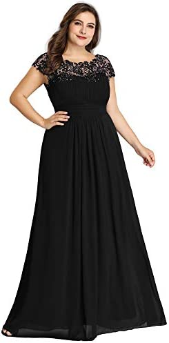 Ever Pretty Womens Floral Lacey Plus Size Long Maxi Wedding Guest Bridesmaid Dresses Black US product image