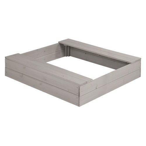 roba Sandkasten klein, Holzsandkasten aus wetterfestem Massivholz, grau lasiert