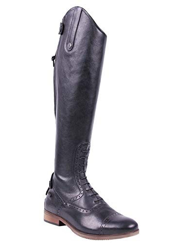 QHP Damen Luxus Leder-Reitstiefel Sophia Normale Wadenweite schwarz Größe 40