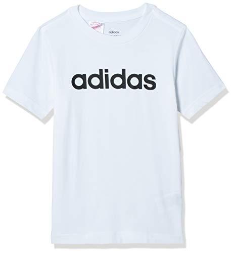 Adidas Youth Boys Essentials Linear T-Shirt, Maglietta Bambino, Bianco (White/Black), 152