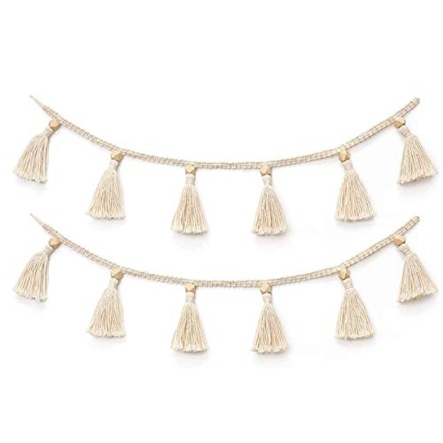 ZOONAI 2 Pack Macrame Cotton Tassel Garland Banner with Beads Wall Decor Woven Home Decoration for Bedroom Nursery Baby Kids Room
