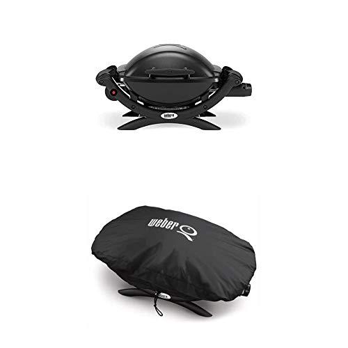 Weber 50010079 Gasgrill Q1000, schwarz, Campinggrill, Grillen auf kleinen Balkonen + Weber 7117 Premium Grillabdeckung für Q100/1000 Serie, schwarz