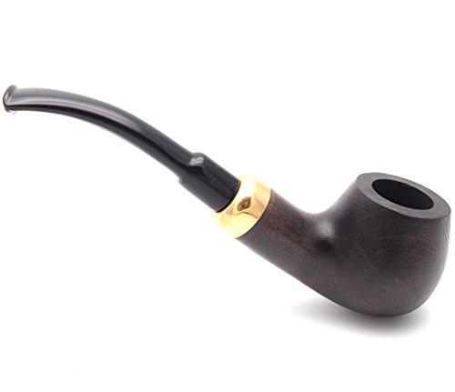 Mr. Brog Full Bent Tobacco Pipe - Model No: 24 Bent Army Ebony Sand Blast - Pear Wood Roots - Hand Made