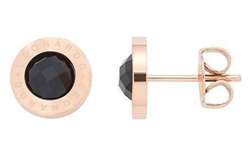Jewels by Leonardo Damen-Ohrstecker roségold mit schwarzem Glasstein I Ohrring klein aus Edelstahl mit Gravur