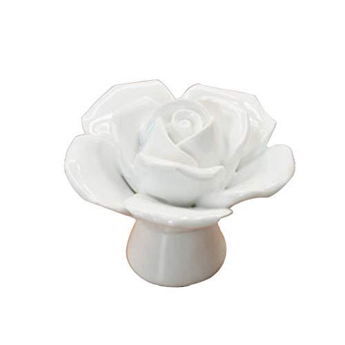 Ogquaton - Pomos de cerámica rosa con diseño de flor para cajón y puerta de porcelana blanca creativa y útil