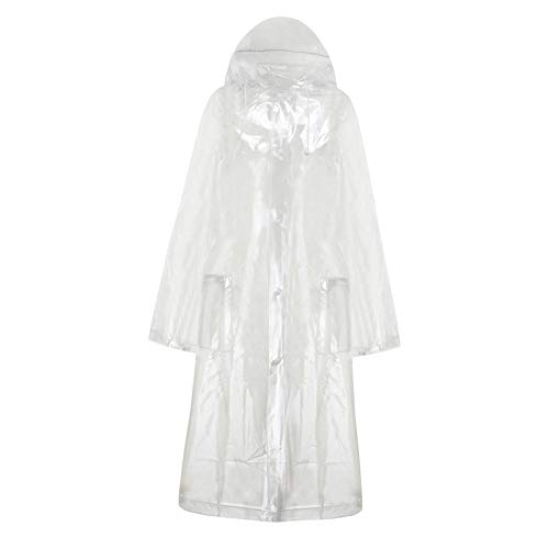oshhni Clear rain Poncho leichtes Wieder verwendbares wandern Regen Jacke Kapuzen Regenmantel für Outdoor-aktivitäten - M