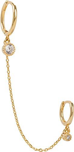 styleBREAKER Damen Creolen Ohrringe Hoops Set mit Kette und Strass, Klappbügel Verschluss, Runde Ohrhänger, Ohrschmuck 05090031, Farbe:Gold