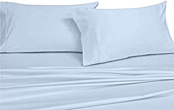 COTTONWALAS #1 Lowest Prices - Mega Sale Hotel Luxury Solid Pattern Heavy Egyptian Cotton 1500 Thread Count 4 Piece Sheet Set Fits Upto 14-18'' Deep Pocket (Size, Color) Queen Blue
