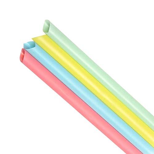 Asalinao 100 Mixed Color Große Strohhalme für Bubble Tea, Smoothie, Milchshake, Mehrfarben-Einwegstrohhalme